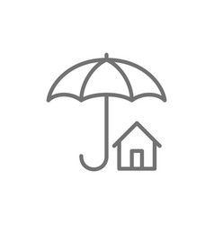 home insurance umbrella with house real estate vector image