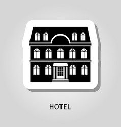 Hotel black building sticker vector