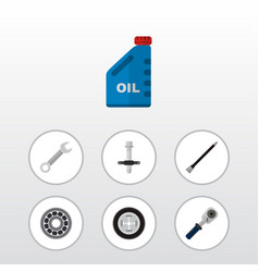 icon flat auto set of oil jerrycan spherical vector image