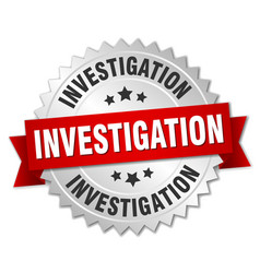 Investigation round isolated silver badge vector