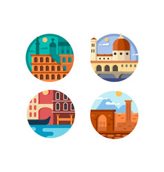 Italy set icon rome and venice vector