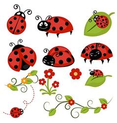 Ladybug icons set vector