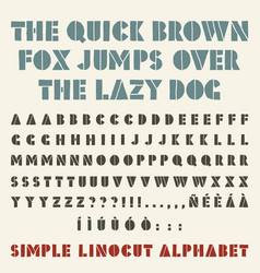 lino-cut simple alphabet stencil shape three vector image