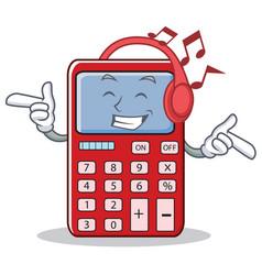 Listening music cute calculator character cartoon vector