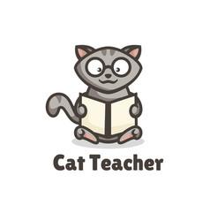 Logo cat teacher simple mascot style vector
