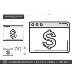 Monetization line icon vector