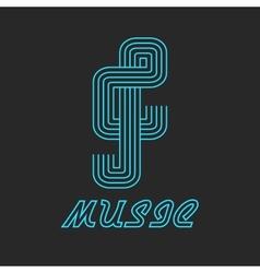 Music key logo of neon line blue icon vector image