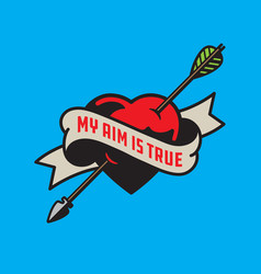 my aim is true heart pierced by arrow vector image