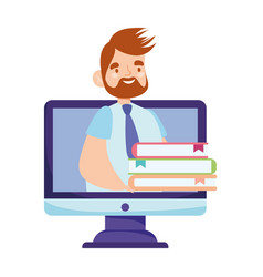 online education male teacher and books internet vector image