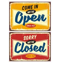 Open and closed door signs set vector