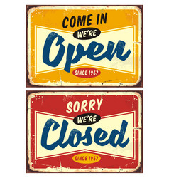 open and closed door signs set vector image