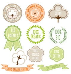 organic cotton signs set vector image