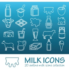 outline milk icons vector image