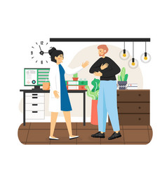 patient disabled man visiting doctor flat vector image