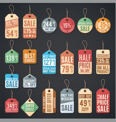 price tags and sale labels with thread vector image