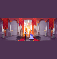 Prince and princess in throne room at castle hall vector