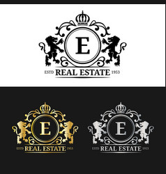 Real estate monogram logo templatesluxury vector