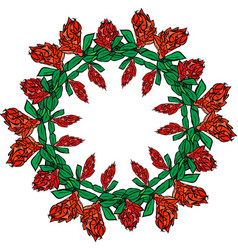 Round wreath of red flowers and green leaves vector