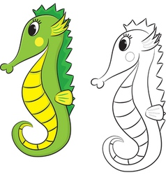 sea horse coloring book vector image