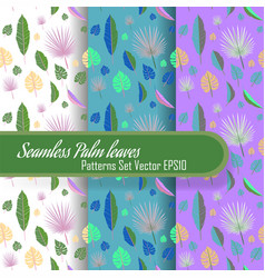 Seamless palm leafs set patterns looped fabric vector