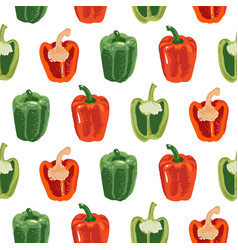 Seamless pattern with green and red peppers sweet vector