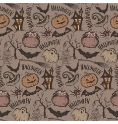 Seamless pattern with sketch Halloween vector