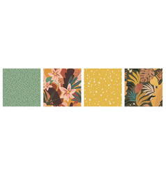 set seamless patterns with tropical plants vector image