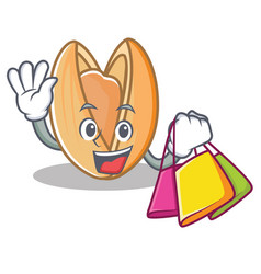 Shopping pistachio nut character cartoon vector