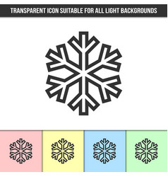 simple outline transparent snowflake icon vector image