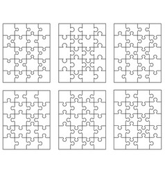 six different white puzzles vector image