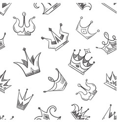 Sketch doodle crowns seamless pattern vector
