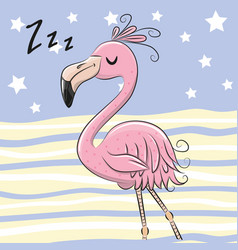 Sleeping flamingo on a blue and yellow background vector