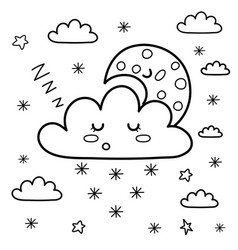 sleeping moon and snowy cloud in sky coloring vector image