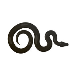slither black python snake top view icon vector image