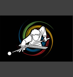 snooker sport action cartoon graphic vector image