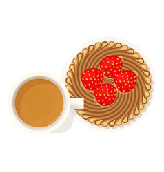 Strawberry dessert icon isometric style vector