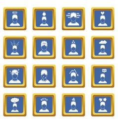 Stress icons set blue vector