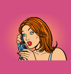 surprised woman talking on the phone emotions vector image