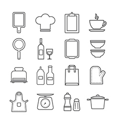 thin line icon set kitchen and cooking vector image