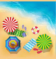 top view of beach sand and vector image