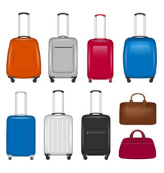 travel suitcase icon set realistic style vector image
