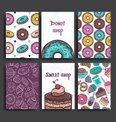 two posters template with donuts and pie vector image