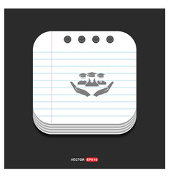 user in hand icon gray icon on notepad style vector image