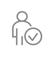 user with tick checkmark line icon human vector image