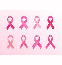 variety pink cancer ribbons vector image