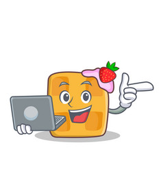 Waffle character cartoon design with laptop vector