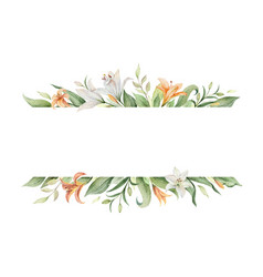 Watercolor banner orange lily flowers vector