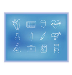 White medical linear icons on blue background vector