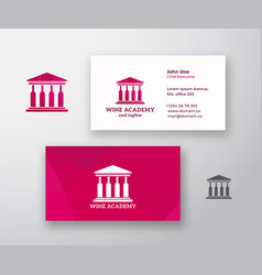 Wine acade logo and business card template vector