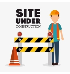 worker cartoon site under construction vector image